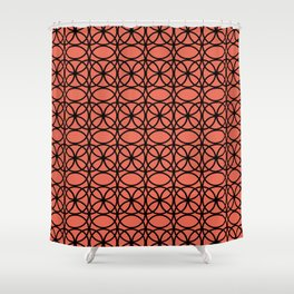 Pantone Living Coral and Black Rings, Circle Heaven 2, Overlapping Ring Design Shower Curtain