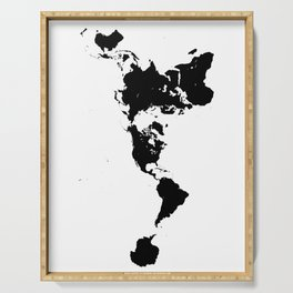 Dymaxion World Map (Fuller Projection Map) - Minimalist Black on White Serving Tray