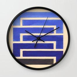 Vintage Blue Geometric Watercolor Painting Wall Clock