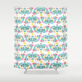 Folk Flowers White Shower Curtain