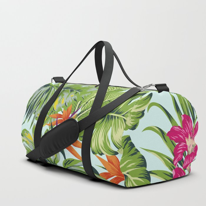 Bird of Paradise Greenery Aloha Hawaiiana Rainforest Tropical Leaves Floral Pattern Duffle Bag