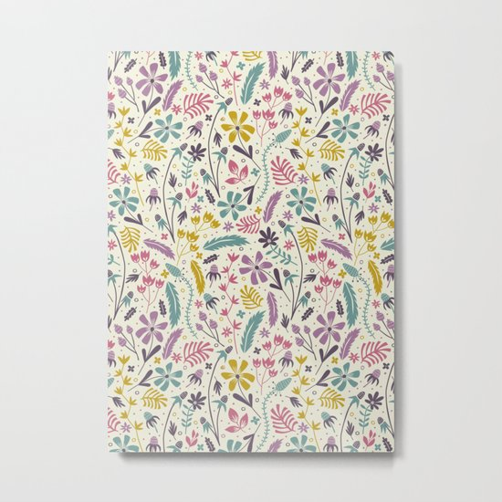 Retro Blooms (Candy) Metal Print