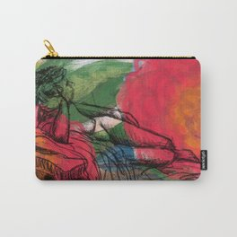 Reclining nude in the flowers Carry-All Pouch