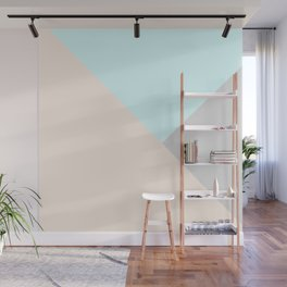 Pastel blue gray color block triangles geometrical Wall Mural