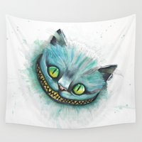 cheshire cat Wall Tapestries featuring Cheshire Cat by digiartpicture
