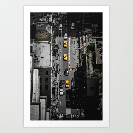 Yellow Cab from Above - Original #society6 exclusive Art Print