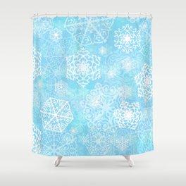 Snowflakes - Blue Shower Curtain