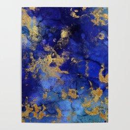 Gold And Blue Indigo Malachite Marble Poster