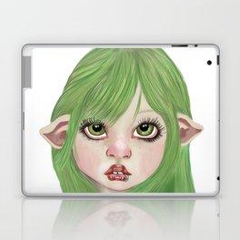 Big eye pierced pixie kid green background Laptop & iPad Skin