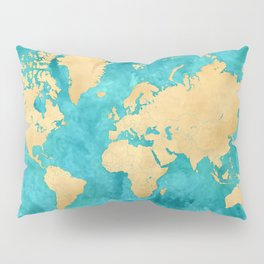 """Teal watercolor and gold world map with countries and states """"Lexy"""" Pillow Sham"""