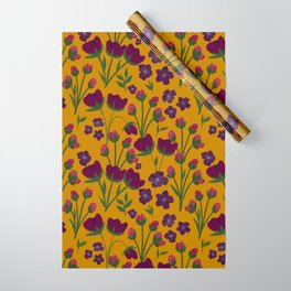 Purple and Gold Floral Seamless Illustration Wrapping Paper