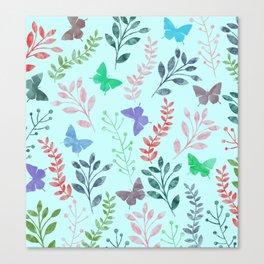 Watercolor flowers & butterflies II Canvas Print