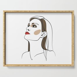 Woman with long hair and red lipstick. Abstract face. Fashion illustration Serving Tray