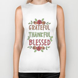 Thanksgiving Day Floral Gift for Fall Holiday Light Biker Tank