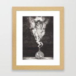 Efreeti Bottle, Elemental Fire Genie Ink Painting Framed Art Print