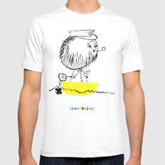 A man in a boat MEDIUM Mens Fitted Tee White