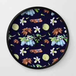 Seamless pattern honeysuckle, cinnamon and lime on a white background. Wall Clock