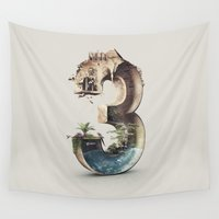 number Wall Tapestries featuring Number 3 by Kevin Roodhorst