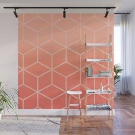 Living Coral Gradient - Geometric Cube Design Wall Mural