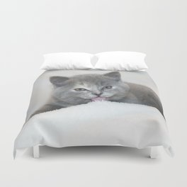 Snow Kitten Duvet Cover