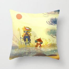 Kappa et l'enfant Throw Pillow