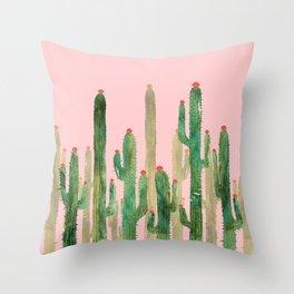 Cactus Four on Pink Throw Pillow