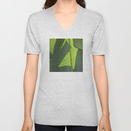 Green Tropical Leaves: Sunlight and Shadows Unisex V-Neck