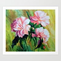 peonies Art Prints featuring Peonies by OLHADARCHUK
