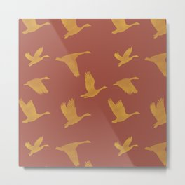 Flying Birds Pattern | Red and Yellow Mood Metal Print