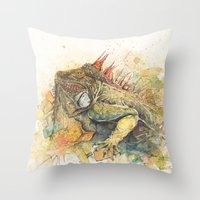 "iggy Throw Pillows featuring ""Iggy Punk"" by PaintedBunting"