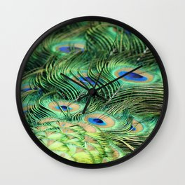 Feather Me Blue & Green (Peacock Feathers) Wall Clock