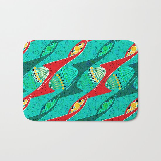 Bright colorful turquoise pattern . Bath Mat