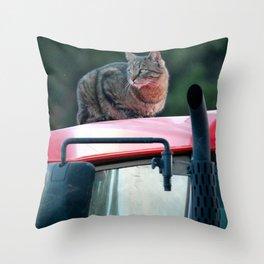Tractor Cat Throw Pillow