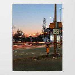 Long exposure motorway roundabout Poster