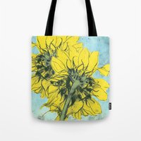 alisa burke Tote Bags featuring The sunflowers moment by anipani