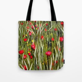 Red Poppies In A Cornfield Tote Bag