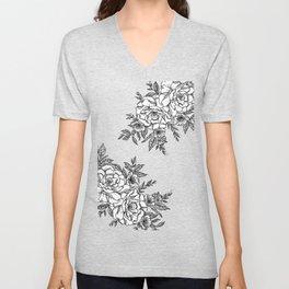 Floral - Black & White Unisex V-Neck