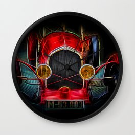 Fractal Red vintage car Wall Clock