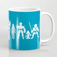 heroes Mugs featuring Plastic Heroes by powerpig