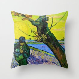 Vincent van Gogh - The Sower - Digital Remastered Edition Throw Pillow