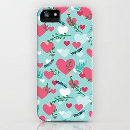 Valentine's blue pattern iPhone Case
