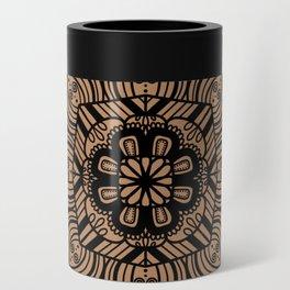 Beige and Black Geometric Mandala Can Cooler