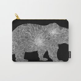 Floral Linework Bear in White Carry-All Pouch