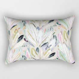Pastel Shimmer Feather Leaves on Gray Rectangular Pillow