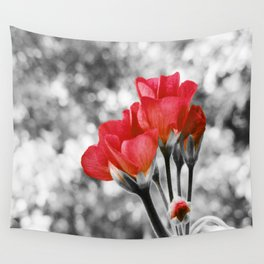 Flowers Pop Of Color Coral Orange Wall Tapestry