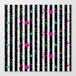 Stripes & Rainbow Splatter Canvas Print