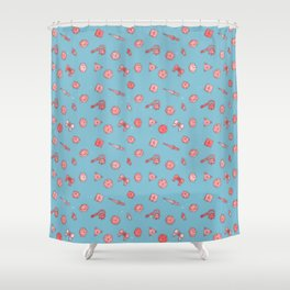 Dice And Daggers Pink Blue Shower Curtain