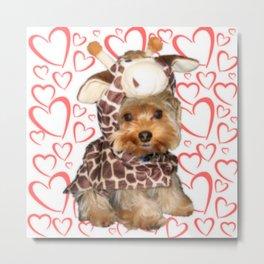 Dog | Dogs |Giraffe Costume | Yorkie with Hearts | Nadia Bonello Metal Print