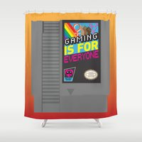 gaming Shower Curtains featuring Gaming Is for Everyone by Inappropriately Adorable