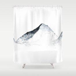 MOUNT EVEREST mountainsplash grey Shower Curtain